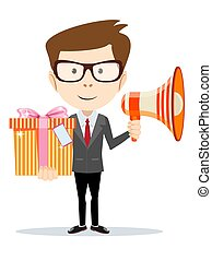 Businessman with a megaphone present gift box