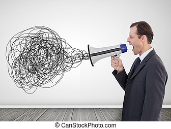 Businessman with a megaphone - Businessman shouting in a...