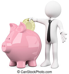 Businessman with a piggy bank - Businessman inserting a coin...