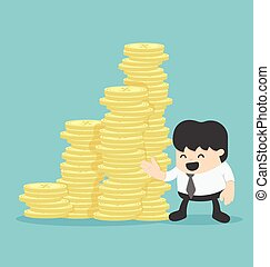 businessman with a pile of money or Offer lots of money