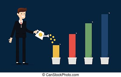businessman with a pink chart going up, flat design, vector EPS10.