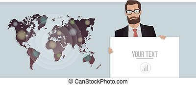 Businessman with a poster and map of the world. Vector illustration for website.