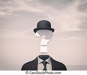 Businessman with a question mark