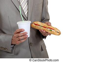 Businessman with a sandwich