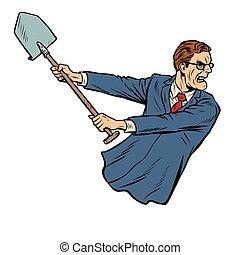 businessman with a shovel