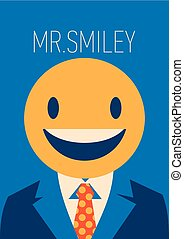 Businessman with a smiley face instead of his head