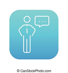Businessman with a speech square line icon.
