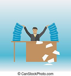 Businessman with a stack of documents on his table vector illustration