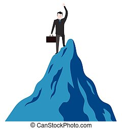 Businessman with a suitcase on a mountain