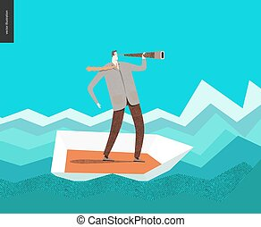 Businessman with a telescope in  boat