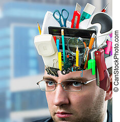 Businessman with accessories in head