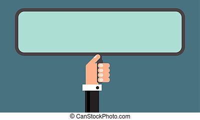 Businessman with advertising board, flat design vector