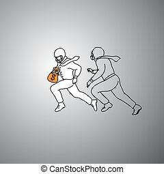 businessman with American football helmet try to protect money from other one vector illustration doodle hand drawn with black lines isolated on gray background. Business concept.