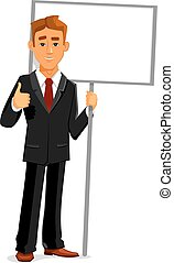 Businessman with an empty sign board and thumb up