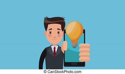 Businessman with app idea HD animation