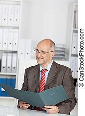 Businessman with application folder