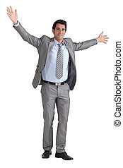Businessman with arms out