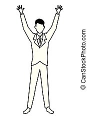 Businessman with arms up cartoon in black and white