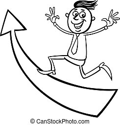 businessman with arrow cartoon