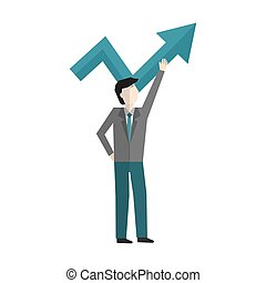 businessman with arrow up avatar character