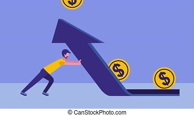 businessman with arrow up upload coins dollar animation hd