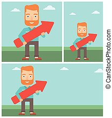 Businessman with arrow up vector illustration.