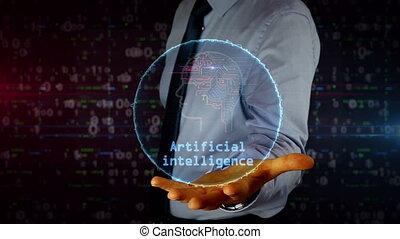 Businessman with artificial intelligence symbol hologram