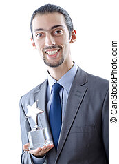 Businessman with award on white