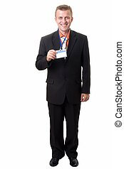 businessman with badge