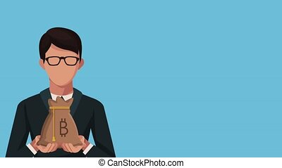 businessman with bag bitcoin ecommerce animation...