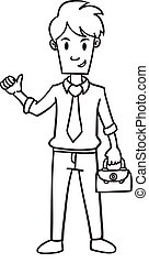 Businessman with bag character hand draw