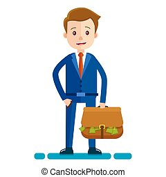 Businessman with bag Full of Money Illustration