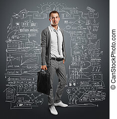 businessman with bag, looking on camera