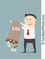 Businessman with bag of collected taxes