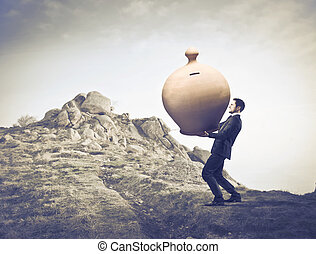Businessman with bag of money