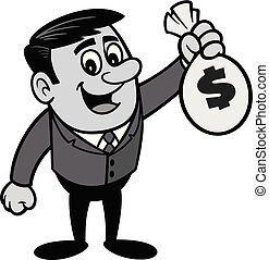 Businessman with Bag of Money Illustration