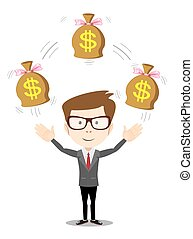 Businessman with bag of money, vector illustration