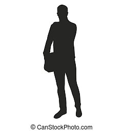 Businessman with bag. Vector silhouette