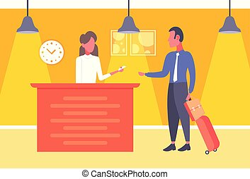 businessman with baggage taking keys business man arrive to...