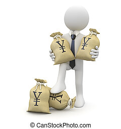 Businessman with bags of yens. He wears tie and cuff....