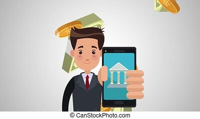 Businessman with bank app HD animation