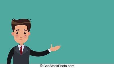 Businessman with bank symbols HD animation