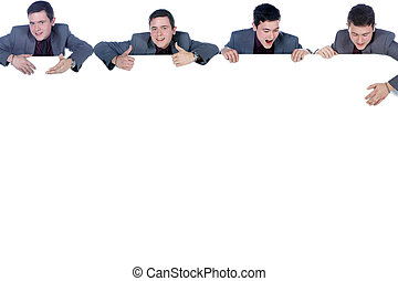 businessman with banner collage