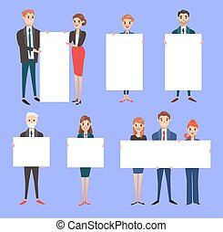 Businessman with banner vector business people holding empty...