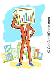Businessman with bar graph