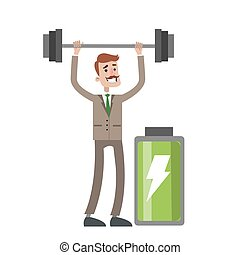 Businessman with barbell.