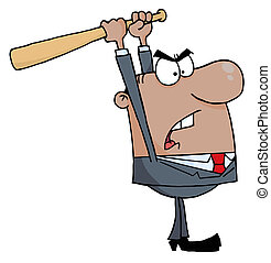 Black Businessman Holding A Bat Over His Head