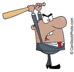 Businessman With Baseball Bat - Black Businessman Holding A...