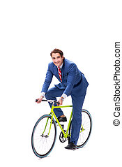 Businessman with bicycle isolated on white background