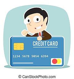 Businessman with big credit card